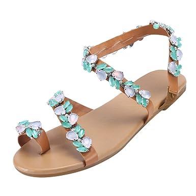 8d26e2c979e34 Amazon.com: Women Ankle Strap Flip-Flop Shoes Summer Beach Bohemia ...