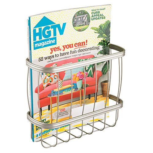 - iDesign 62375 York Metal Over the Tank Magazine Rack, Newspaper and Book Holder for Bathroom, Office, Bedroom, Den, 9.25