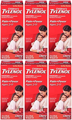 TYLENOL Children's Pain & Fever Oral Suspension Cherry Blast Flavor 4 OZ - Buy Packs and SAVE (Pack of 6)