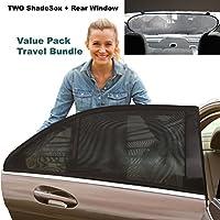 Premium Rear Window Sun Shade PLUS Two (2) ShadeSox Universal Fit Car Window ...