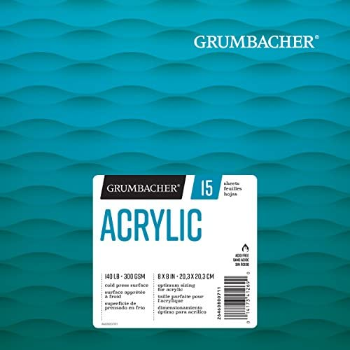 Grumbacher アクリル折り返し紙パッド 140ポンド / 300 GSM、8 x 8インチ、ホワイトシート/パッド15枚