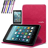 Mignova case for All-New Fire 7 Tablet (2017 7th Gen) - Ultra Slim Lightweight With Kick Stand Cover For All-New Fire 7 Tablet (7th Gen 2017 release) + Screen Protector Film and Stylus Pen (Pink)
