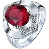 Women Fashion 925 Silver Oval Cut Ruby Ring Wedding Engagement Jewelry Gift (7)