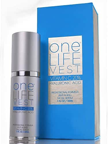 Introducing Revolutionary Product: A Luxury Anti Aging Treatment, Organic Vitamin C Serum 20% + Hyaluronic Acid. For Men and Women, One Life Vest Skin Care. Dark Spot, Fine Lines and Wrinkles Removal.