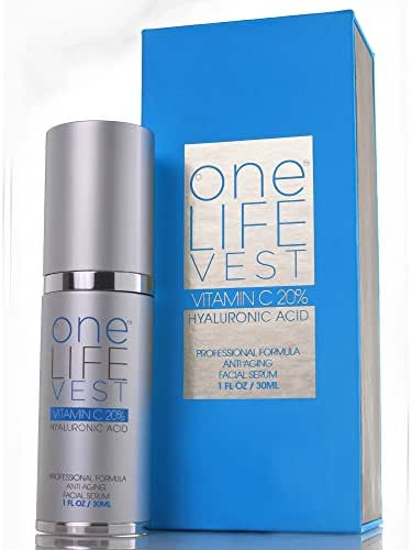 Luxury Vitamin C Serum 20% + Hyaluronic Acid for Men and Women by One Life Vest. Anti Aging Skincare Treatment for Face. Organic Beauty Product for Fade Dark Spot, Sun Damage, Fine Lines and Wrinkles.