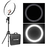 ZOMEi 12 LED Ring Light Dimmable for Video Youtube Portrait and Photography Lighting with Heavy Duty Light Stand