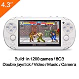 CZT 4.3 Inch 8GB Handheld Game Console 32Bit Video Game Console Built-in 1200+ non-repetitive games Support NES/SNES/GB/GBC/GBA/SMC/SMD/SEGA Games MP3 MP5 Player Support Ebook Camera Recording (White)