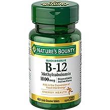 Natures Bounty Methylcobalamin B12 Microlozenge Tablets, 1000 mcg, 60 Count