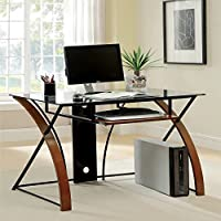 Metro Shop Furniture of America Sirga Modern Grey Tempered Glass Computer Desk-Oak & Black Finish