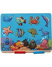 B&Julian® Hengelspel hout magneet met 12-delig magnetische dieren houten puzzel vissen spel motoriek speelgoed educatief speelgoed voor kinderen vanaf 18 maanden (koraal)