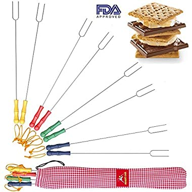 Premium Marshmallow Roasting Sticks - 8 Smores Skewers & Hot Dog forks – Fun Camping Cookware Perfect for Patio Fire Pit & Campfire Cooking for Kids and Adults. Bonus - Storage Bag & 2 Cooking E-books