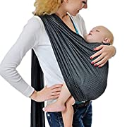 Cuby Breathable Baby Carrier Mesh Fabric, Ideal for Summers/Beachhe Adjustable Ring Sling Baby Carrier. Ergo Friendly (Grey)