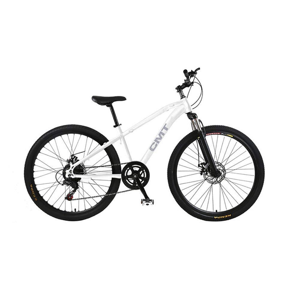 entrega rápida blanco 26 Pulgadas Unisexo Bicicleta Bicicleta Bicicleta de montaña de suspensión 21 Velocidad Freno de Disco Doble Estudiante Niño Ciudad del Viajero Cabellera Dura Bicicleta,blanco  barato y de alta calidad