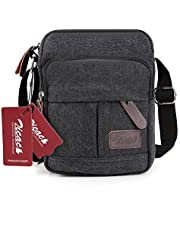 Zicac Men's Retro Small Canvas Cross Body Messenger Bags Satchel Bag (Black)
