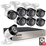 ZOSI FULL 1080P HD-TVI Video Color Security System 8 Channel DVR Reorder w/8x2.0 Megapixel 1080P Weatherproof Indoor outdoor Bullet Cameras 2TB Hard Drive Smartphone& PC Easy Remote Access