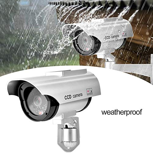 Dummy Security Camera, Solar Power CCTV Fake Bullet Camera with Realistic Look, Waterproof Dummy Security Surveillance System with Warning Sticker, Indoor/Outdoor Use, for Homes & Business (Silver)