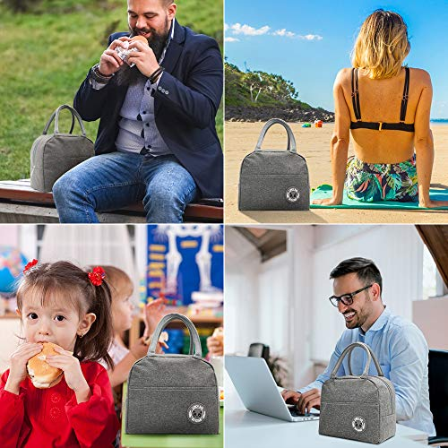 Reusable Lunch Bag for Women Men insulated Lunch Tote Bags with Portable Utensils,Thermal Cooler Bag Lunch Container for Women Men Work Picnic