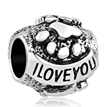 Charmed Craft I Love You Dog Charm Puppy Pet Paw Print Sale Cheap Beads Fit Pandora Bracelet Charms