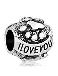 Q&Locket I Love You Dog Paw Print European Bead for Bracelet