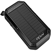 Solar Charger, Epai 8000mAh Portable Solar Power Bank Waterproof 3-Port USB Solar Panel Charger With 21LED Light Carabiner For Emergency Outdoor Camping for cell phone,iPhone,iPad, Android Black