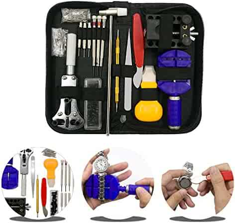 URXTRAL 145 PCS Watch Repair Tool Kit Professional Spring Bar Tool Set, Watch Band Link Pin Tool Set, Back Case Opener Remover with Carrying Case