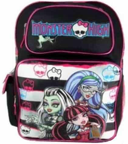c591d11bb02e Full Size Black and White Stripe Monster High Backpack - Monster High  Bookbag