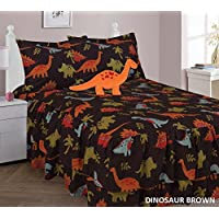 Twin 4 Piece Brown Dinosaur Printed Double Ruffle Comforter Quilt Set With Furry Buddy Pillow