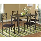Dining Table with 4 Chairs Target Marketing Systems 5 Piece Valencia Dining Set with 1 Table and 4 Chairs, Black