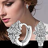 Fashion Women Charm Crystal Jewelry 925 Silver Plated Ear Hoop Clip Earring Gift