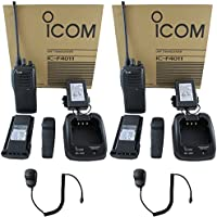 QTY 2 Icom F4011 41 RC UHF 4 watt 16 channel 400-470 MHz Two Way Radio with Remote Speaker Microphone