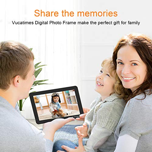 VUCATIMES WiFi Digital Picture Frame - V8 8inch AWS Cloud Picture Frame IPS Screen Photo Slideshow Calendar Infrared Remote Control Support Android Facebook Instagram (iOS APP Coming Soon), Black