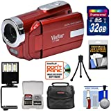 Vivitar DVR-508 HD Digital Video Camera Camcorder (Red) 32GB Card + Case + LED Video Light + Tripod + Kit