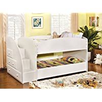 247SHOPATHOME Idf-BK921WH-T Bunk-Beds, Twin, White