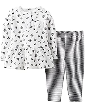 Baby Girls' 2-Piece Tunic & Striped Leggings Layette Set (Newborn)