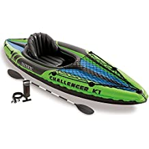 Intex Challenger 1-Person Inflatable Kayak Set with Aluminum Oars and High Output Air Pump