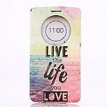 LG G3 Case, GOODTONY [Quick Circle Window] [Slim Fit] Premium [Cartoon Cute Printing] PU Leather Ultra Slim Flip Smart Cover for LG G3 (smile face) (Love Life Pattern)
