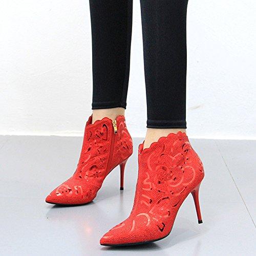 KPHY-Winter Neue Weibliche Stiletto Heels Rosa Paillettenbesetzte Rote Schuhe Schuhe Schuhe Mit Hohen Absätzen Und Winter - Hochzeit: Schuhe Schuhe Mit Hohen Absätzen - Stiefel des b85262