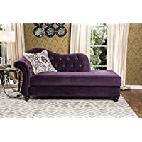 Furniture of America SM2222-CE Antoinette Purple Chaise Upholstered Sofas/Sectionals/Armchairs, 39 H