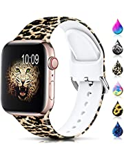 Sport Band Compatible with Apple Watch Bands 38mm 40mm 42mm 44mm for Women Men,Floral Silicone Printed Fadeless Pattern Replacement Strap Band for iWatch Series 3, Series 5,Series 6,Series 4,Series 2