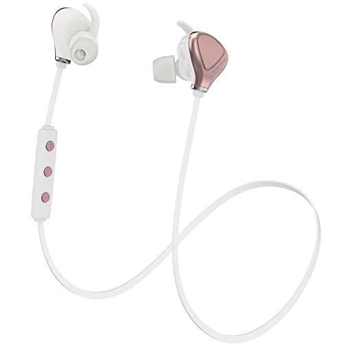 Bluetooth Headphones InzhiRui Wireless Headphones Sweatproof Headset Earphones in Ear with Mic Hands-Free Wireless Earbuds for Running Jogging Cycling Sports Gym iPhone 7 6 5 SE iPod iPad Samsung Galaxy Android (Rose Gold)