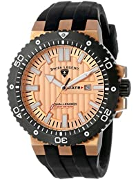 Mens 10126-RG-09-BB Challenger Rose Gold Tone Textured Dial Black Silicone Watch