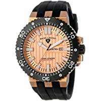 Swiss Legend Men's 10126-RG-09-BB Challenger Rose Gold Tone Textured Dial Black Silicone Watch
