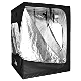 Reflective Mylar Indoor Hydroponic Grow Tent with Windows: 60x60x78 Inch (5ft x 5ft x 6.5ft)