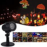 Halloween Christmas Projector Lights, Outdoor Waterproof Landscape Projection Light,Dynamic Lighting with 14 Switchable Pattern Lens for Xmas,Party,Wedding,Halloween Yard Garden Decorations