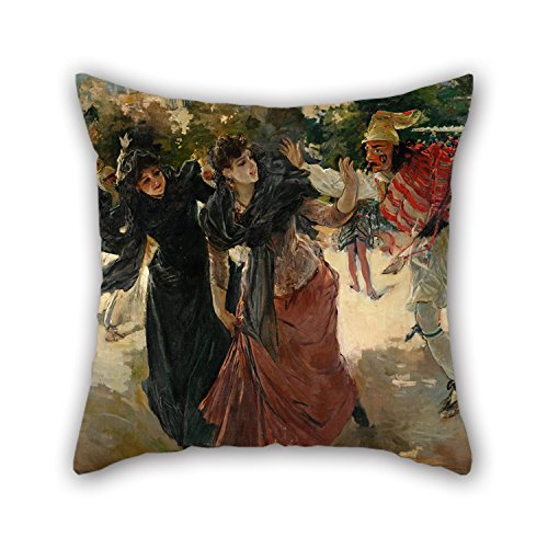 [Throw Cushion Covers Of Oil Painting Ignacio Pinazo Camarlench - Carnival Evening In The 'Alameda' 18 X 18 Inches / 45 By 45 Cm,best Fit For Dance Room,gril Friend,dining Room,gf,divan,car Two] (0-3 Months Baby Halloween Costumes Uk)