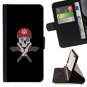 For Apple iPhone 5C Case , Mario Cráneo y armas- la tarjeta de Crédito Slots PU Funda de cuero Monedero caso cubierta de piel