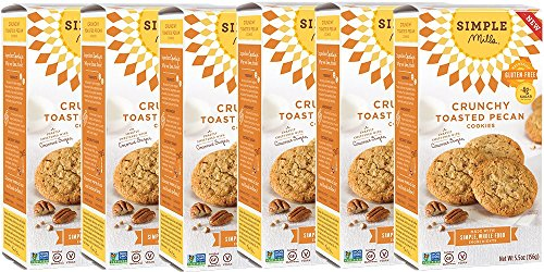 Simple Mills Naturally Gluten Free Crunchy Cookies, Toasted Pecan, 6 Count PACKAGING MAY ()