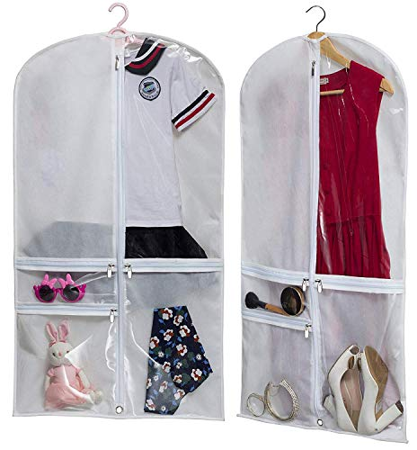 (Kimbora Costume Dance Garment Bag with 3 Clear Zipper Pockets for Suits Dress Cover, Travel & Competitions Protector, Set of 2)