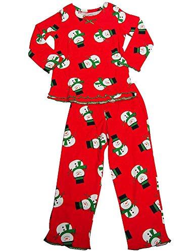 Sara's Prints - Little Girls Long Sleeve Snowmen Ruffle Pajamas, Red 38011-5
