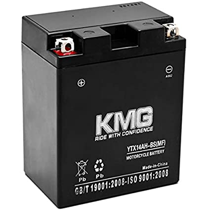 KMG Kawasaki 400 KAF400 Mule 600 610 2005-2012 YTX14AH-BS Sealed Maintenace  Free Battery High Performance 12V SMF OEM Replacement Maintenance Free